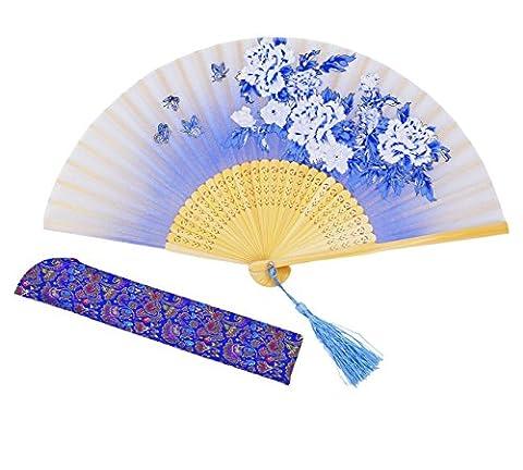 Meifan Chinese /Japanses Classical Handmade Vintage Folding Bamboo Silk Flower Pattern Hand Fan MFN (Blue)