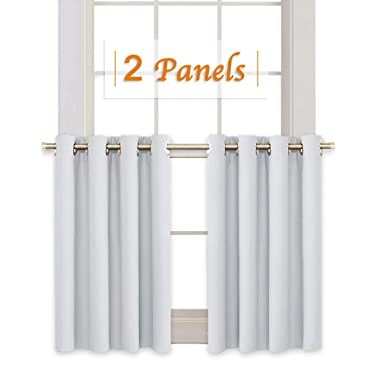 RYB HOME Window Curtain Tiers Valances Set Home Decorative Window Covering 8 Grommets Drapes Room Darkening Drapery for Nursery/Baby Room, 52 Width x 36 Length in Each Panel, Platinum, 2 Pcs