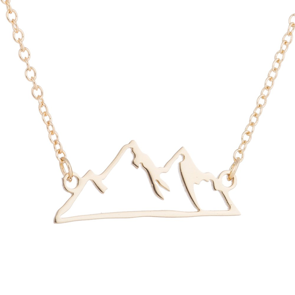 Stan-Deed Minimalist Necklace Hiking Outdoor Mountain Range Colorado Pendant Necklaces Travel Jewelry Climbing Gifts (Gold)