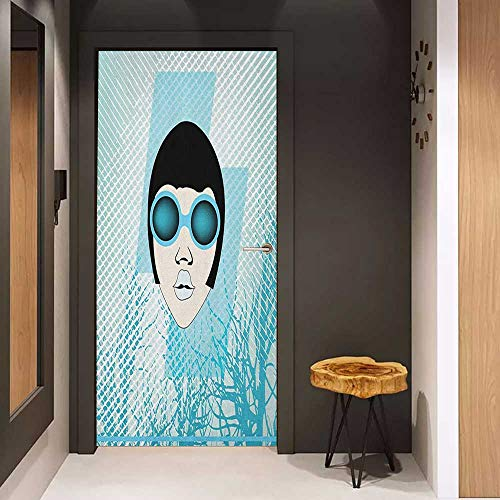 Indie Dolly - Onefzc Glass Door Sticker Decals Indie Retro Woman Portrait with Vintage Sunglasses Short Hair Abstract Trees Door Mural Free Sticker W30 x H80 Pale Blue Black White