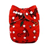 Alva Baby Christmas Design Reuseable Washable Pocket Cloth Diaper Nappy + 2 Inserts Q28