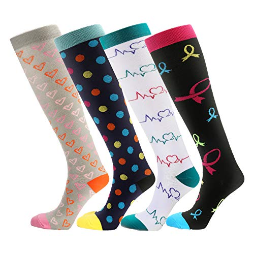 NOVAYARD 4 Pairs Knee High Graduated Compression Socks (15-20mmHg) for Men & Women