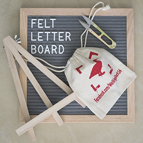 Walking Duck Luxury Letter Board - Gray 10x10 inch Felt Board with Oak Wood Frame and 580 Peg on White Letters, Numbers, Symbols, Emojis - for Creative DIY Messages - Incl. Accessories ()