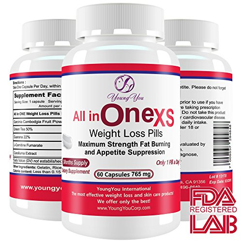 All in One Weight Loss Pills. Prescription Grade Supplement. Appetite Suppressant, Fat Burner, Fat Blocker for Rapid Weight Loss. 60 ct. Diet Pills.