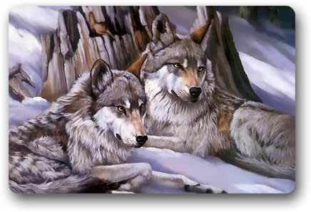 Doormat Custom Machine-Washable Door Mat A Couple of Wolf Indoor/Outdoor 30(L) x 18(W) Inch