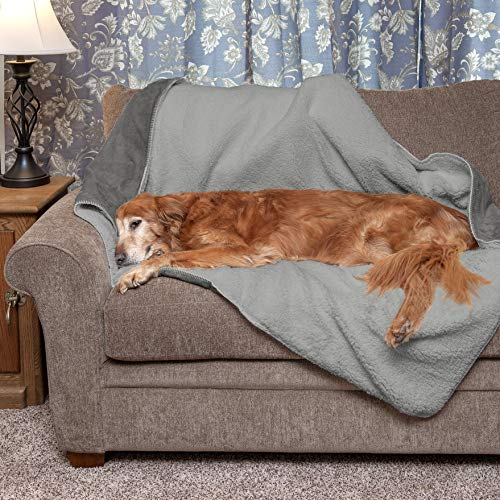 Furhaven Pet Dog Bed Blanket | Snuggly & Warm Faux Lambswool & Terry 100% Waterproof Insulated Thermal Self-Warming Pet Bed Throw Blanket for Dogs & Cats, Silver Gray, Large