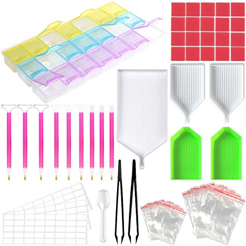 - ADVcer 90pcs DIY 5D Diamond Painting Tools Kit, Complete Supplies Set with 1/3/6/9 Crystal Quick Drop Pen, 21 Grids Rhinestone Storage Box, Tweezers, Spoon, Tray, Glue, Lable Stickers, Zip Lock Bags