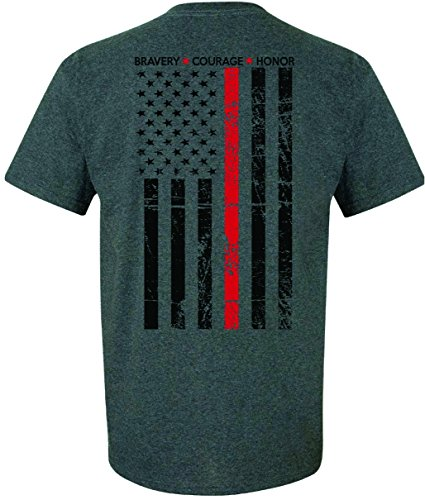 Patriot Apparel Thin Red Line Firefighter T-Shirt Tee Hero Honor Short Sleeve Design (Large, Dark Heather ()