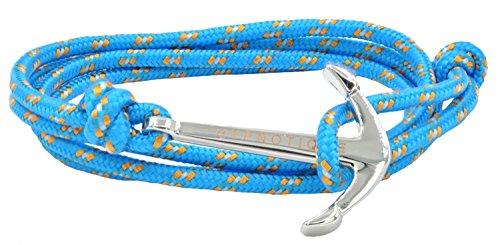 Unisex+Sliver-tone+Anchor+Sailor+Nautical+Charm+with+Nylon+Paracord+Rope+Bracelet+Jewelry+%28Light+Blue%29