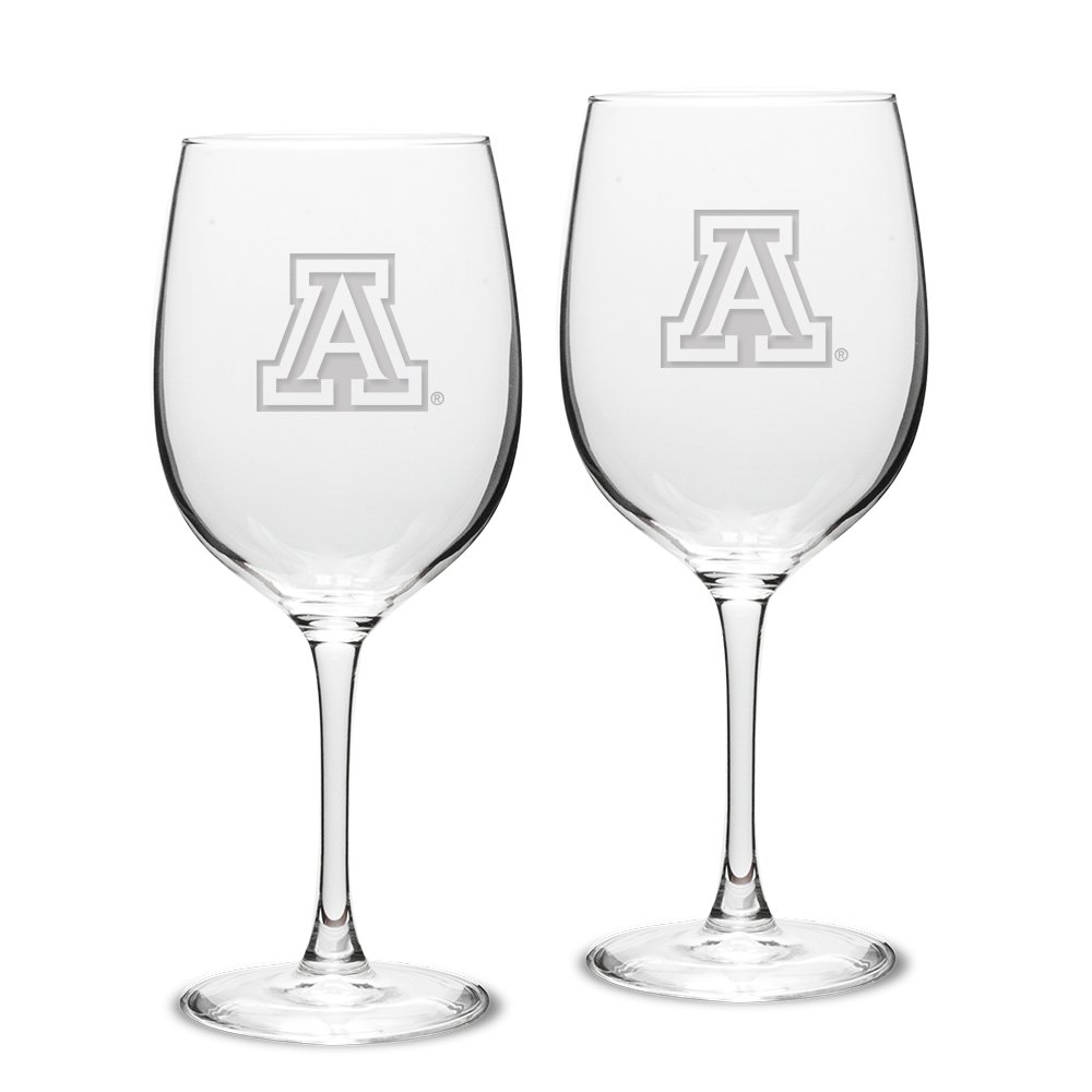 University Glass NCAA Arizona Wildcats Adult Set of 2-19 oz Robusto Red Wine Glasses Deep Etch Engraved, One Size, Clear