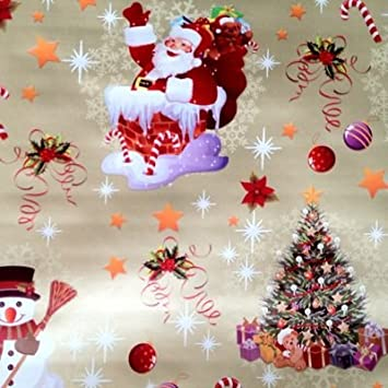 THE TABLECLOTH SHOP Jolly Santa Gold Christmas Wipe Clean Vinyl Tablecloth Table  Cover 2 Metres