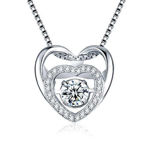 Dual Heart Shape and Dancing Diamond Design Pedant Necklace in 925 Sterling Silver