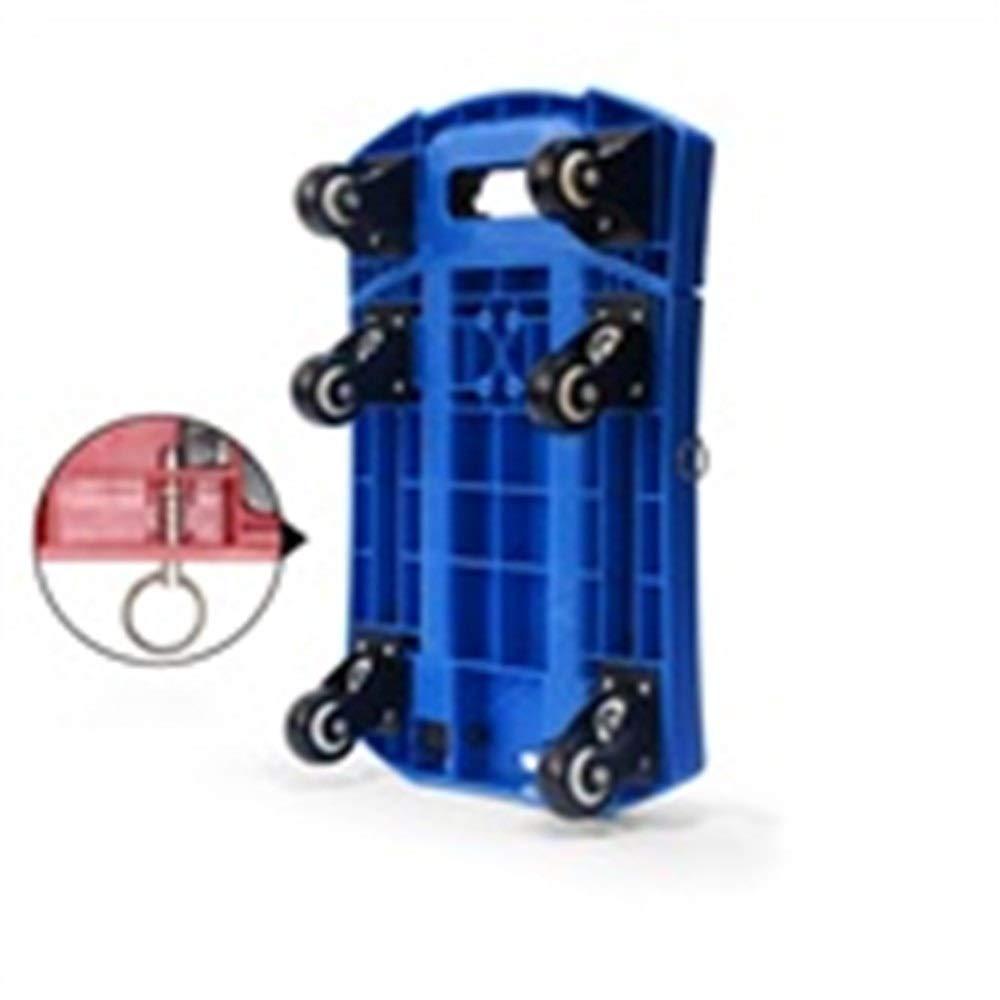 JIANPING Trolley Household Folding Portable Mute Trolley Car Shopping Cart Luggage Cart Truck Trailer Can Bear 200kg Shopping Trolley (Color : Blue)