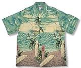 Surfers Kamehameha Vintage Print Men's Hawaiian Aloha Retro Style Shirt in Aquamarine - S
