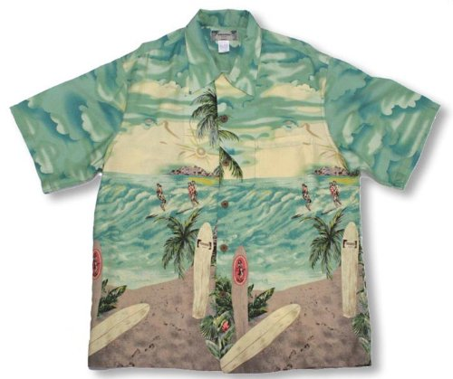 Surfers Kamehameha Vintage Print Men's Hawaiian Aloha Retro Style Shirt in Aquamarine - S by Paradise Found