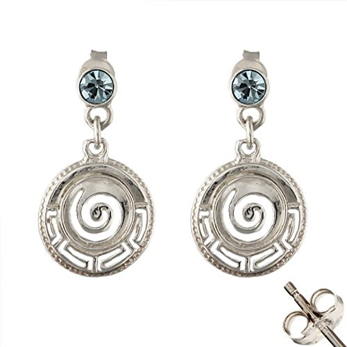 Sterling Silver Dangle Earrings - Greek Key Circle (17mm)