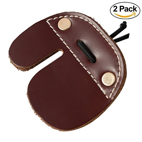 Efanr 2 Pack Cow Leather Archery Finger Tab For Recurve Bows Hunting Finger Protector Handmade Double Thickness Genuine Leather Brown