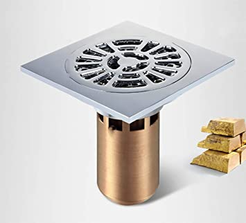 "Stainless Steel 4/"" Square Floor Embedded Antique Brass Shower Waste Floor Drain"
