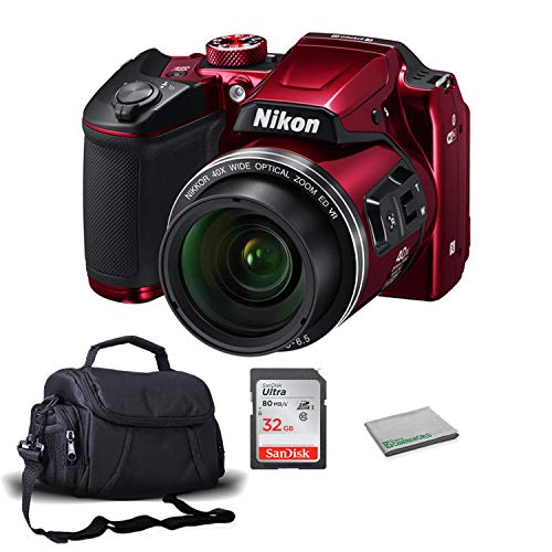 Nikon COOLPIX B500 Digital Point & Shoot Camera (Red) 26508 Bundle with 32GB Sandisk Memory Card + More