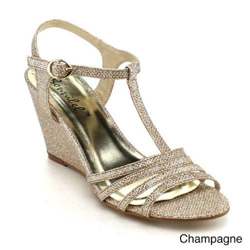 Bonnibel Vrouwen Flosa-1 Glitter T-band Wedge Jurk Sandalen Champagne