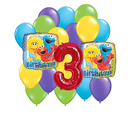 Sesame Street 3rd Birthday Colorful Balloon Bouquet (Ernie The Elf)