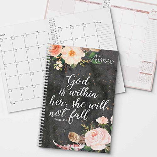 Monthly Personalized Calendar - She Will Not Fall Personalized Religious Monthly and Weekly Planner and Organizer, 1 full year, DATED or UNDATED OPTION, Soft Cover, lay flat wire-o spiral binding, Available in 2 sizes.