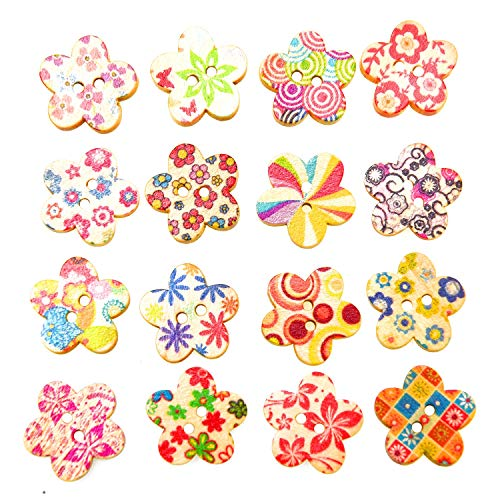 Monrocco 100Pcs Colorful Floral Print Flower Shape Wooden Buttons 2 Holes for DIY Sewing Craft Decoration Notebook (18mm)