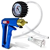 LeLuv Vacuum Pump Maxi Blue Handle with Rubber Protected Gauge Natural Body Enhancement Clitoris Suction Cups Small