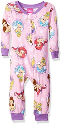 Disney Princesses Baby Blanket - Disney Baby Girls Multi-Princess Cotton Non-Footed Pajama, Princess Pink, 12M