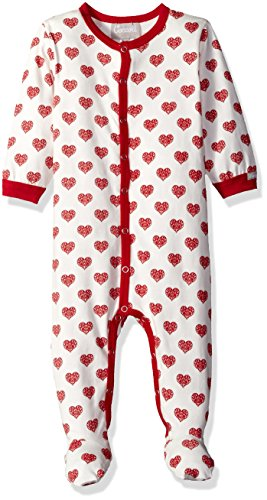 Coccoli Baby Girls' Heart Print Jersey Knit Cotton Footie, Cranberry/Almond hearts, 3 Months