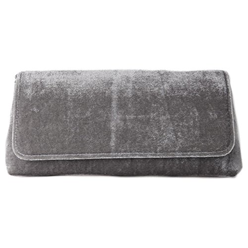Borsa clutch, Mattea grigio, in velluto