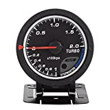 Cuque Universal 60mm LED Turbo Boost Gauge Turbo Boost Meter PSI Turbo Boost Gauge for Auto Racing Car 0-200 Kpa DC 12V Stainless Steel Shell + Glass Top