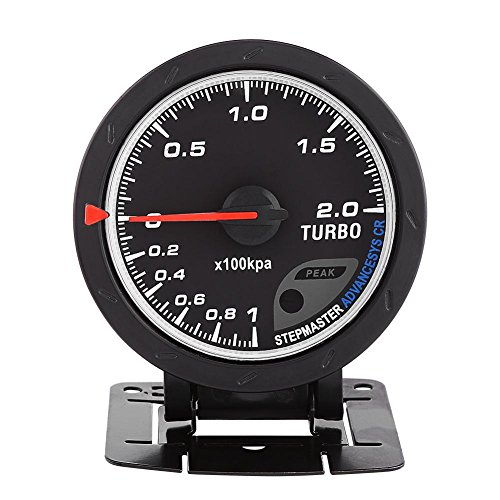 Turbo Boost Gauge Kit Universal 60mm LED Turbo Boost Meter Gauge Black Shell For Auto Racing Car 0-200 Kpa: