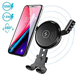 BESTHING Wireless Charger, 360 Degree Rotation Wireless Car Mount, Air Vent Phone Holder, 10W Fast Charge Compatible for Samsung Galaxy S9, S8, Note 8, 7.5W Quick Charging Compatible for iPhone XS