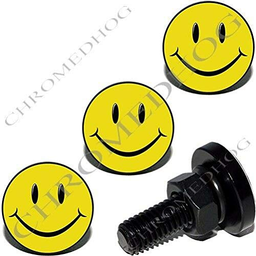 4 Black Billet Aluminum License Plate Frame LIC Tag Fastener Bolts - Smile Face The Best Accessories for Cars and Motorcycles by Billion_Store