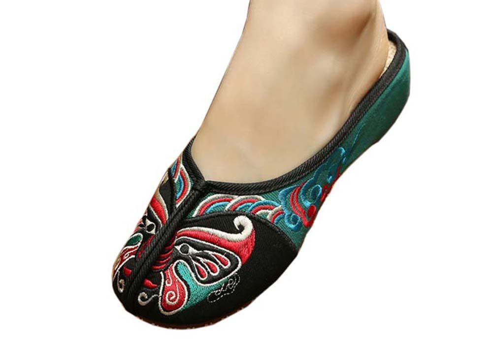 Womens Embroidered Summer Slippers Wedges Sandals Shoes for Cheongsam, 03