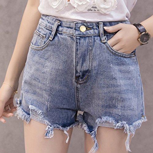 Mujer Pantalones Novio Claro Denim Básicos Cintura Estilo Vaqueros del Alta Estudiante Azul Cortos HxHrqz6w