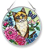 Amia 42069 4-1/2-Inch Hand Painted Glass Circle Suncatcher, Medium, Cat and Floral Design