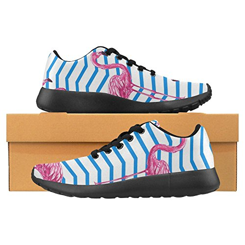 InterestPrint Womens Jogging Running Sneaker Lightweight Go Easy Walking Casual Comfort Sports Running Shoes Beautiful Floral Tropical Pink Flamingos With Abstract Chevrons Multi 1 zTvgHtWTv