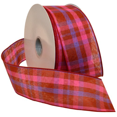 Color Fabric Ribbon (Morex Ribbon Color Chic Plaid Wired Fabric Ribbon, 2 1/2-Inch by 50-Yard Spool, Scarlet/Pink)