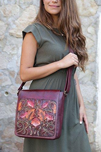 Vintage Floral Adjustable Crossbody Juno Artisan Handmade Leather Mahogany Women Handbag Messenger Gift for OpwdwFqx