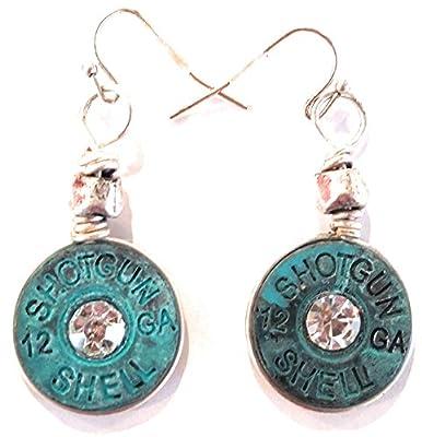 """JP Faux 12 GA Gauge Rhinestone Bullet Hook Western Cowgirl Earrings 1"""""""