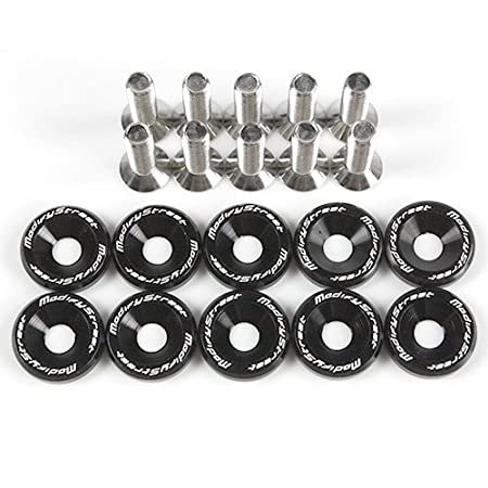 Black Aluminum Alloy Fender Bumper Engine Dress Up Washers Kit with Bolts - 10 Pieces by Modifystreet Style 4 Modify Street