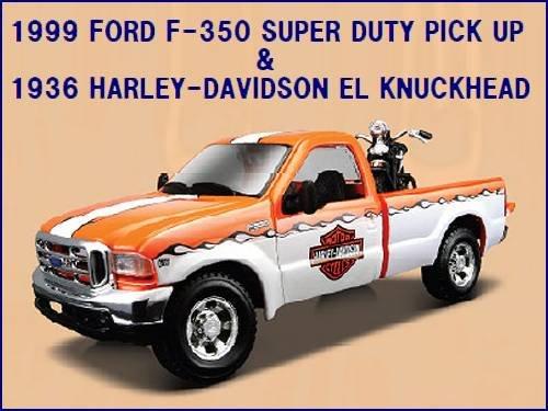 1/24 フォードF350+ハーレーダビッドソン ナックルヘッド (黒×オレンジ)