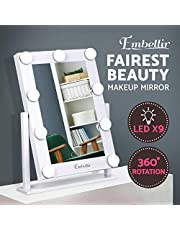 Embellir Light Up Makeup Mirror Beauty Stand Up Mirror LED Lighted Mirror Hollywood Style Countertop Cosmetic Mirror for Dressing Table Desk Living Room