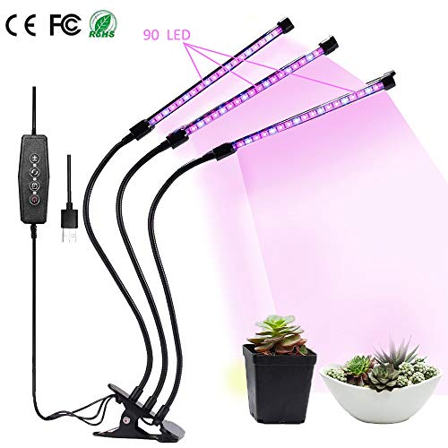 $28.99 Grow Light, Grow Lamps for Indoor Plants, 27W 3-Head 90 LED Growing Chips with Auto ON & Off Timer, Adjustable 360 Degree Gooseneck, 5 Dimmable Levels, 3/9/12H Timer (Red/Blue Spectrum) 2019