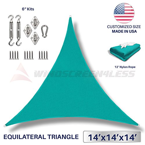 Windscreen4less 14 x 14 x 14 Equilateral Triangle Sun Shade Sail with 6 inch Hardware Kit – Turquoise Green Durable UV Shelter Canopy for Patio Outdoor Backyard – Custom Size