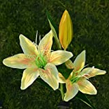 Solar Powered Artificial lily Flower LED Lights Solar Flower Lights Outdoor Decorative Landscape LED lilyLights (Yellow)