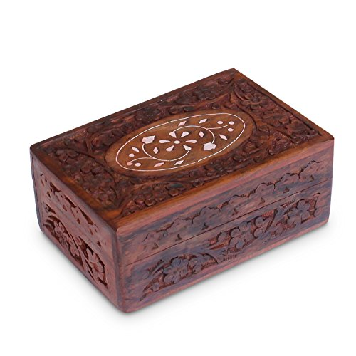 Handcrafted wooden jewelry keepsake box with lid small for Handmade wooden jewelry box