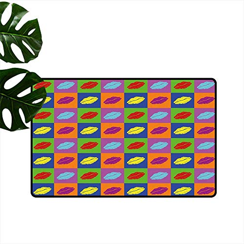 (PEONIY&HOME Kiss,Kitchen Mat Pop Art Style Lipstick Kisses on Vibrant Colored Squares 60s Style Seductive Romantic Low-Profile Mats for Entry W 24